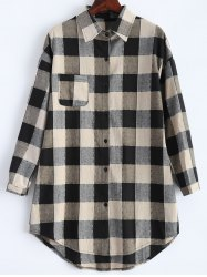 Button Up Asymmetric Plaid Shirt - BLACK 5XL