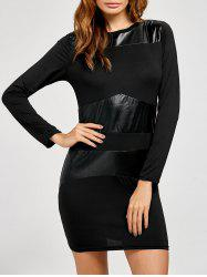 Long Sleeve Faux Leather Insert Bodycon Dress -