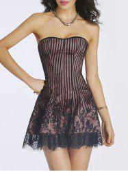 Lace-Up Short Skater Corset Dress - CAMEO