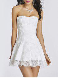 Lace-Up Floral Lace Dress with A Corset