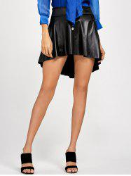 High Low Faux Leather Skirt - BLACK