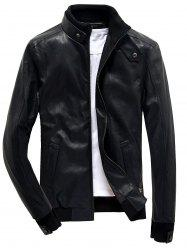 Rib Splicing Stand Collar PU Leather Zip Up Jacket - BLACK