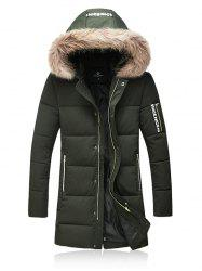 Thicken Zip Up Down Coat with Faux Fur Hood -