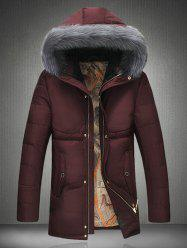Furry Hood Thicken Zip Up Down Coat