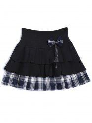 Plaid Tiered Bowknot Embellished Skirt -