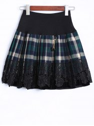 Plaid Lace Insert Mini Skirt -
