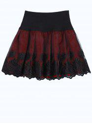 Elastic Waist Embroidered A Line Skirt -