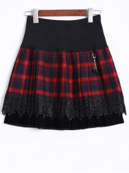 Elastic Waist Plaid Lace Insert Skirt -