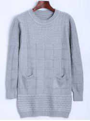 Crew Neck Cable Knit Sweater with Pocket