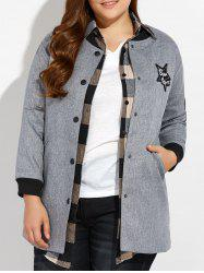 Plus Size Number Patched Bomber Jacket - GRAY