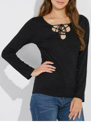 Long Sleeve Lace Up T Shirt -
