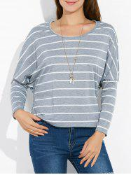 Batwing Sleeve Striped Tee