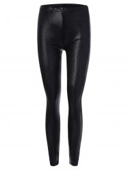 Skinny Faux Leather Leggings - BLACK