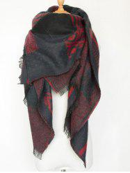 Aztec Geometry Fringed Knit Shawl Blanket Scarf
