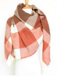 Tartan Pattern Fringed Big Square Shawl Scarf - DEEP ORANGE