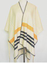 Open Front Striped Stitch Hemming Pashmina - BEIGE