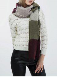 Wide Striped Knitted Scarf -