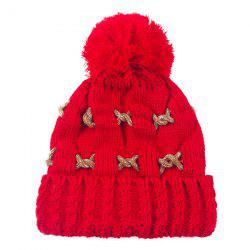 Warm Knit Cable Braided Pom Hat -