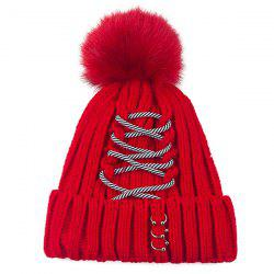 Warm Striped Criss Cross Bandage Pom Hat - RED