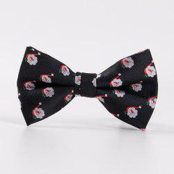 Merry Christmas Santa Claus Jacquard Bow Tie - BLACK
