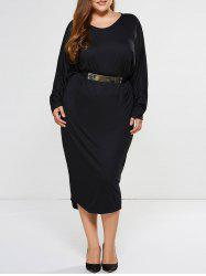 Batwing Sleeve Plus Size Cocoon Dress