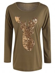 Christmas Reindeer Sequin Long Sleeve T-Shirt