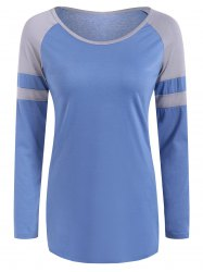 Raglan Sleeve Color Block Design T-Shirt - SKY BLUE L