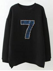 Plus Size Seven Pattern Beaded Loose Sweatshirt