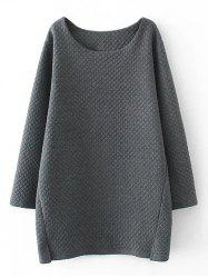 Plus Size Checked Textured Long Sweatshirt - GRAY