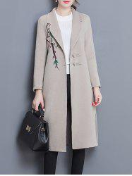 Wool Blend Longline Embroidered Coat - APRICOT