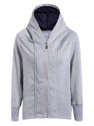Casual Double Zippers Plus Size Hoodie -