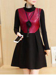 PU Panel Color Block Long Sleeve Dress