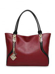 Metal Pendant PU Leather Shoulder Bag -