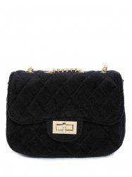 Metallic Chains Velour Quilted Bag - BLACK