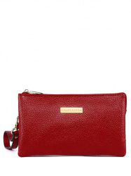 PU Leather Metal Embellished Clutch Bag - RED