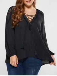 Plus Size Lace Up Blouse