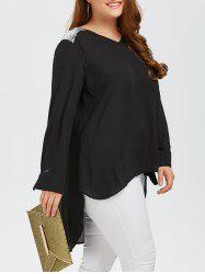 Plus Size Sequined Trim High Low Blouse -
