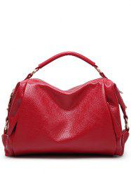 Metallic Zips Textured PU Leather Tote -