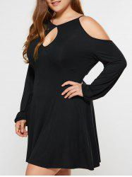 Plus Size Dew Shoulder Keyhole Neck Dress