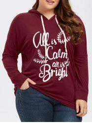 Plus Size Drop Shoulder Funny Hoodie - BURGUNDY