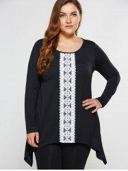 Plus Size Lace Insert Asymmetrical Tee