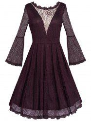 Open Back See Through Long Sleeve Flare Lace Dress -