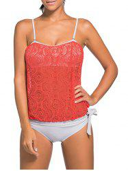 Cami Strap Lace Panel Padded Tankini -