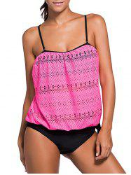 Cami Strap Lace Panel Padded Tankini - ROSE RED