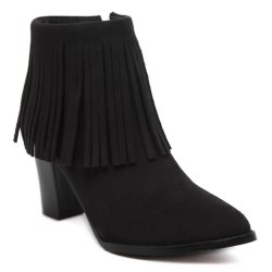 Chunky Heel Suede Fringe Ankle Boots - BLACK 39