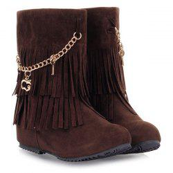 Suede Fringe Mid-Calf Boots