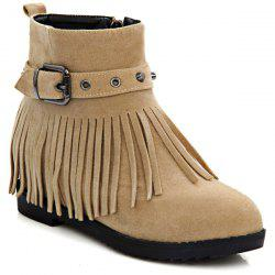Studded Buckle Fringe Ankle Boots