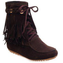 Suede Lace Up Fringe Ankle Boots