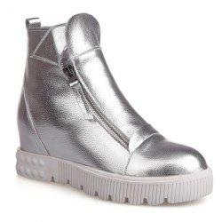 PU Leather Zip Ankle Boots - SILVER