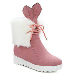 Rabbit Ear Lace Up Faux Fur Ankle Boots